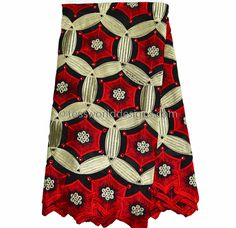 SL133 - Swiss Voile Lace fabric, Gold, Red 5 yards