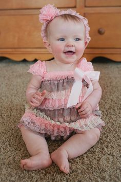 Light Pink and Gray Lace Petti Dress by ASweetCelebration on Etsy