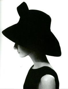Audrey Hepburn wearing a black velvet hat with deep-brimmed capeline designed by Givenchy, photographed by Cecil Beaton, 1964.