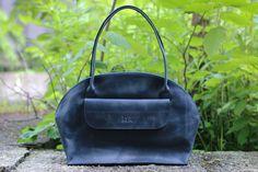 Top handle bag, handmade bag, leather bag, womens handbag, leather handbag, genuine leather bag, handmade handbag, bag for women, Luna Blue