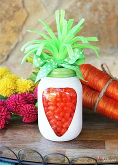 Adorable Mason Jar Carrots are perfect for Easter, and so easy to make! MichaelsMakers Positively Splendid