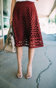 Eyelet detail - J. Crew perforated eyelet A-line skirt, in navy