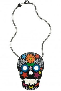Sugar skull necklace from Tatty Devine - I need I want Skull Necklace, Skull Jewelry, Clay Jewelry, Pendant Necklace, Sugar Scull, Sugar Sugar, Handmade Necklaces, Handmade Jewelry, Tatty Devine