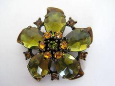 Vintage Olive Green Rhinestone Flower Brooch by VintagObsessions, $25.00