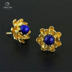 ==> [Free Shipping] Buy Best Lotus Fun Real 925 Sterling Silver Stud Earrings for Women Ball Blue Lapiz Stone Handmade Yellow Gold Plated Flower Fine Jewelry Online with LOWEST Price | 32814118118