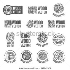 Annual tree growth rings logo icon set with vector drawing of the cross-section of a tree trunk. - stock vector