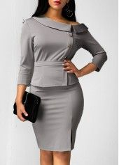 Button Embellished Three Quarter Sleeve Top and Skirt