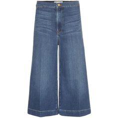 Frame Denim Culottes ($185) ❤ liked on Polyvore featuring pants, capris, blue, frame denim, denim trousers, blue pants, denim pants and blue trousers