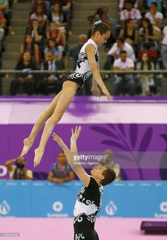 Yelyzaveta Vasylga (female) and Oleksandr Shpyn (male) of Ukraine compete in the Acrobatic Gymnastics Mixed Pair Dynamic final at the 2015 European Games in Baku on June Acrobatic Gymnastics, Aesthetic Makeup, Athletics, Leotards, Ukraine, Finals, Cool Pictures, June, Yoga