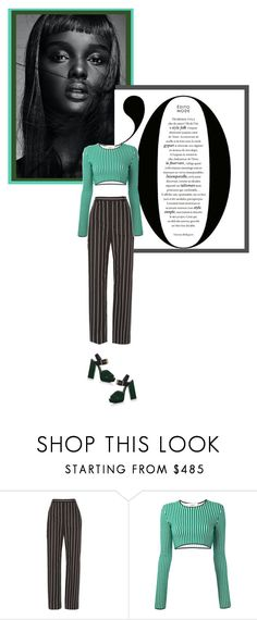 """""""Ports 1961: Striped Cropped Sweater."""" by kriantonio ❤ liked on Polyvore featuring Thot, Balenciaga, Ports 1961 and Prada"""