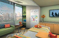 Above: Typical patient room, University of Minnesota Children's Hospital, Fairview. Tsoi/Kobus & Associates image