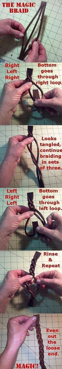 One-piece 2-slit leather braid