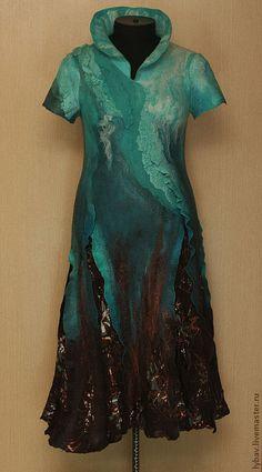Купить Бирюзовый водопад - бирюза, водопад, морская волна, валяние из шерсти, валяное платье
