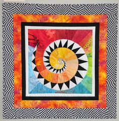 Cosmic Spiral by Lucy Hill Colorful Quilts, Small Quilts, Mini Quilts, Paper Piecing Patterns, Quilt Patterns, Pythagorean Spiral, Quilting Projects, Quilting Designs, Spiral Art