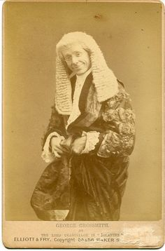 """Cabinet photograph of George Grossmith as The Lord Chancellor in the original DOC production of """"Iolanthe,"""" 1882. Photo by Elliott & Fry,"""