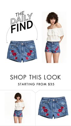 """""""The Daily Find: H&M Embroidered Shorts"""" by polyvore-editorial ❤ liked on Polyvore featuring H&M and DailyFind"""