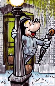 Just singing in the rain. great. now i have mickey's voice singing this song stuck in my head