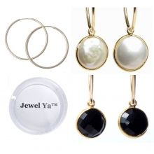 Hoop Earring & Bezel Set Drop Gift Set www.jewelya.com