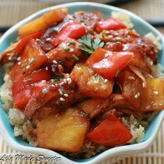 Slow Cooker Sweet and Sour Chicken with Pineapples and Bell Peppers Recipe - RecipeChart.com