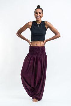Solid Color Low Cut Women's Harem Pants in Purple