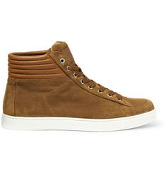 Gianvito Rossi Brady High-Top Suede and Leather Sneakers | MR PORTER
