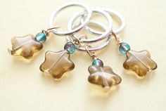 Star Stitch Markers - Brown Glass Stars with Blue Green Crackle Beads - Set of 4 £3.99 #etsy