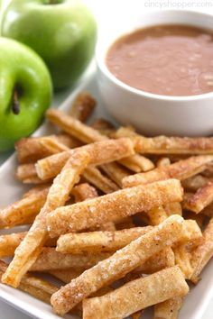 Apple pie fries + caramel dip = a match made in dessert heaven.  Get the recipe at Cincy Shopper.   - Delish.com