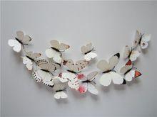 3D 12ks Plastová umelé motýľ s Pin Bižutéria pre Moskytiéra opona Decor Party Svadobné ozdoby na vianočný stromček (Čína (pevninská časť))