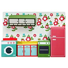 Make your own kitchen. A modern design by Zoé de Las Cases inspired by iconic toys from the 1950s. Made from  flat packed cardboard, easily assembled and will provide lots of roll play fun. When you are not playing simply hang them on the wall to decorate your room or dolls house