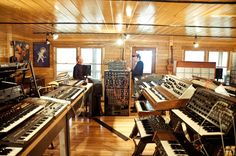 Vince Clarke's home studio. This is what synth heaven looks like...