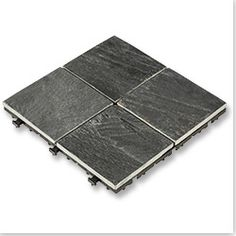 "Interlocking Deck Tiles - Elements Earth Series - Slate/12""x12""x1""/Slab 4 Square Interlocking Deck Tiles, Earth, Slate, Nyc, Exterior, Patio, Garden, Ideas, Yard"