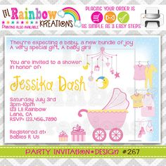 267 DIY Baby Room Party Invitation Or Thank by LilRbwKreations