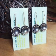 oxidized hammered double dome drop earrings Measuring Spoons, Metal Working, Drop Earrings, Handmade, Hand Made, Metalworking, Drop Earring, Handarbeit