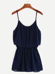 Shop Navy Spaghetti Strap Chiffon Romper online. SheIn offers Navy Spaghetti Strap Chiffon Romper & more to fit your fashionable needs.