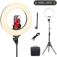 AW Dimmable 14 35W 5500K LED Ring Light with Tripod Ball Head Color Filter Photo Video Lighting Stand Kit