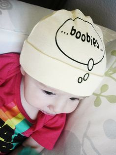 Funny baby hat Boobies on the brain Screen by katyandzucchini, $12.00