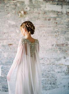 Lakshmi Beaded Crystal Pearl Silk Train by GibsonBespoke on Etsy #weddingdress