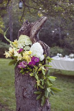 This could be later used with succulents or any kind of flower planted and trailing from it...lovely idea....flower arrangement in tree stump