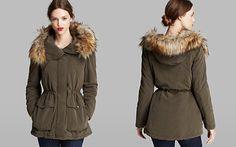DKNY Anorak - Candace Faux Fur Trim Hood