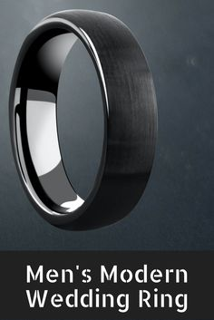 Mens black tungsten wedding ring with a brushed top finish. This modern mens wedding ring comes in 6mm width and 8mm width. High polish interior for comfort fit.