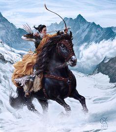 Grandma's Bow (Mulan Concept) by Chalky Nan - ReasonableFantasy The Elder Scrolls, Character Concept, Character Art, Character Design, Concept Art, Fantasy Warrior, Fantasy Characters, Female Characters, Disney Characters