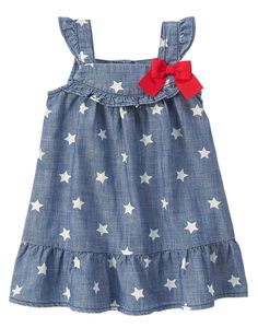 Toddler Girls Denim Denim Star Dress by Gymboree. imported and Collection Name: Star-Spangled Summer. Frocks For Girls, Kids Frocks, Little Dresses, Little Girl Dresses, Girls Dresses, Toddler Dress, Toddler Outfits, Kids Outfits, Toddler Girls