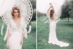 Nestled in a grove of silver-toned olive trees, this serene shoot is filled with romantic bohemian wedding gowns styled to perfection and accessorised with luxurious florals, flowing calligraphy and an elegant cake display.