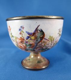 Antique Enamel Open Salt Cellar