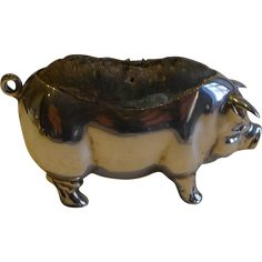 Antique English Sterling Silver Figural Pin Cushion - Pig or Sow - 1904