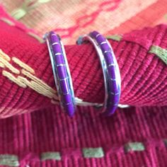 Simple, classic Zuni channel inlay sugilite earrings by Nastacio. New jewelry just added to shop.