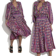 Stunning 1980s Diane Freis Ruffle Print Gypsy Dress Now on Site. A curated selection of designer & unique vintage by A Part of the Rest. #soldout