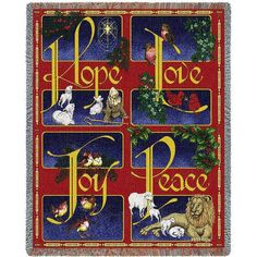 Celebrate the joy of the Christmas season with the festive Hope Love Joy Christmas Tapestry Blanket. These wonderfully unique Christmas Decor items are woven on jacquard looms from finely selected cotton yarns to create a stunning addition to your Christmas Decorations.