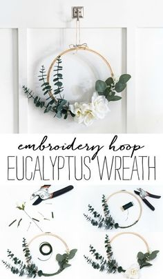 Embroidery Hoop Wreath - It All Started With Paint <br> Embroidery hoop wreath. How to make an easy simple embroidery hoop wreath. Wreath Crafts, Diy Wreath, Diy Crafts, Diy Spring Wreath, Spring Door Wreaths, Embroidery Hoop Crafts, Simple Embroidery, Fleurs Diy, Floral Hoops