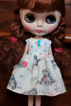 SALE...BLYTHE doll Its my party dress  Playful by TiredMomKnits